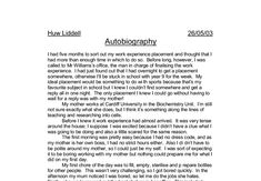 autobiography for university application sample