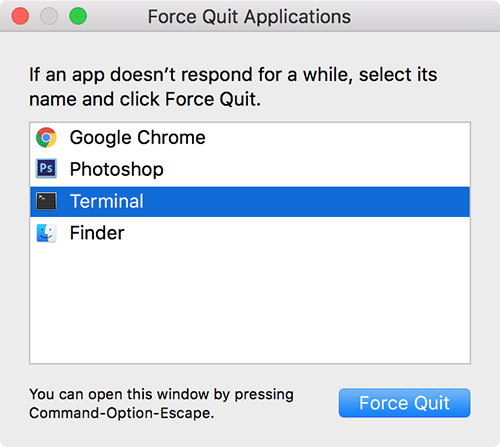 force quit an application on mac