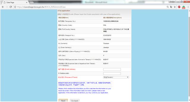taiwan embassy visa application form