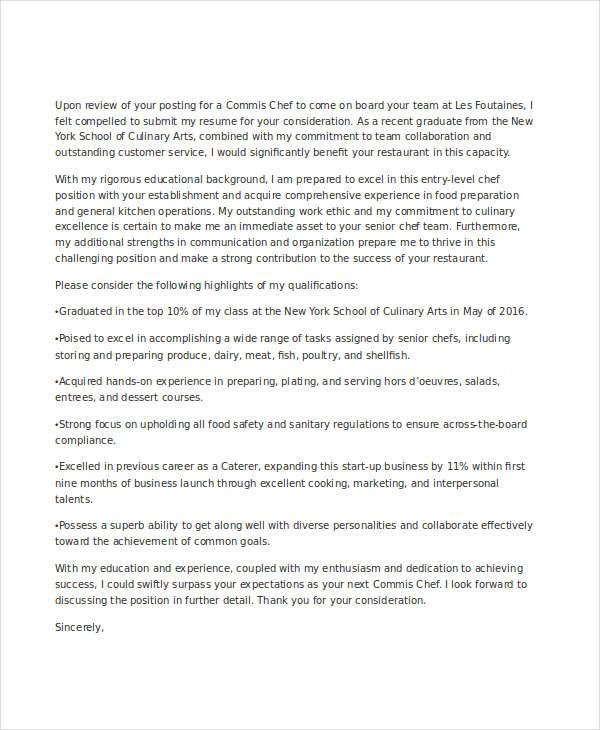 cover letter sample for chef job application