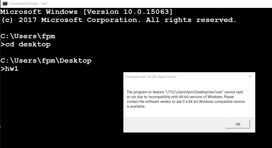 16 bit application support windows 10