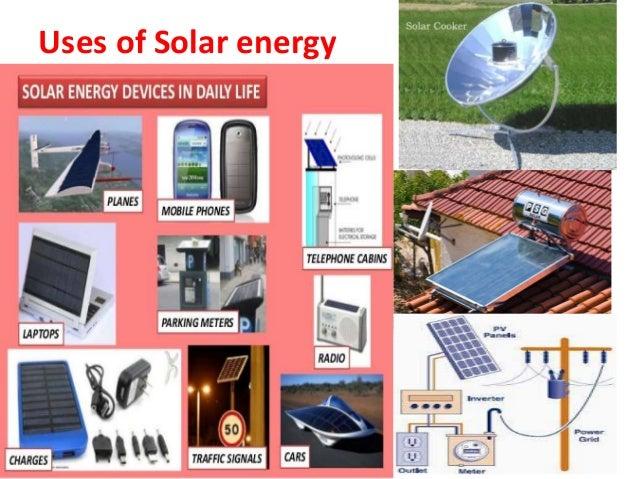 list of solar energy applications