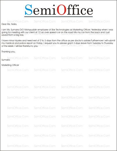leave application template for office