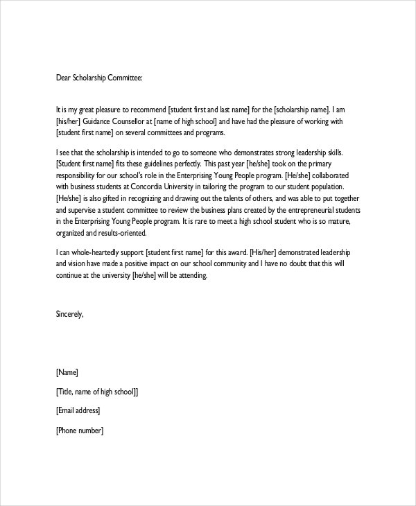 high school scholarship application letter examples