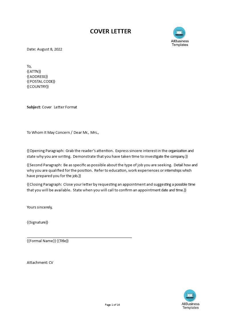 cover letter format for job application
