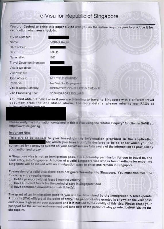 india visa online application singapore