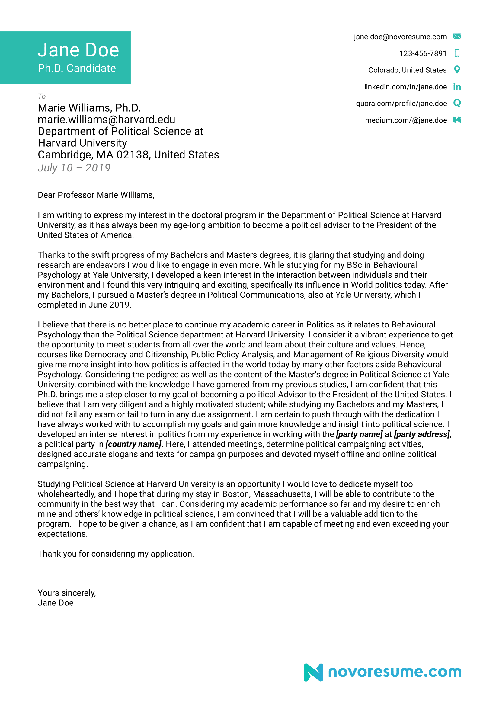 out of area school application letter sample