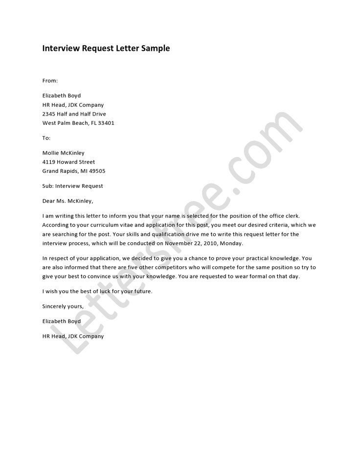 application letter for job interview