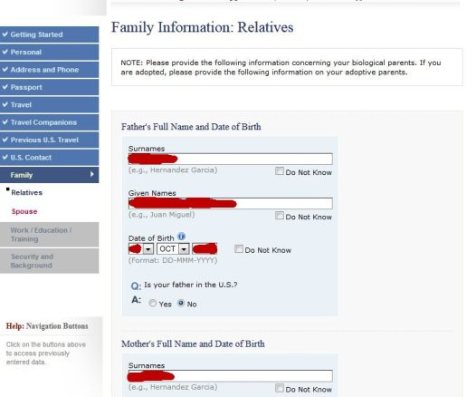 create a family application ds 160