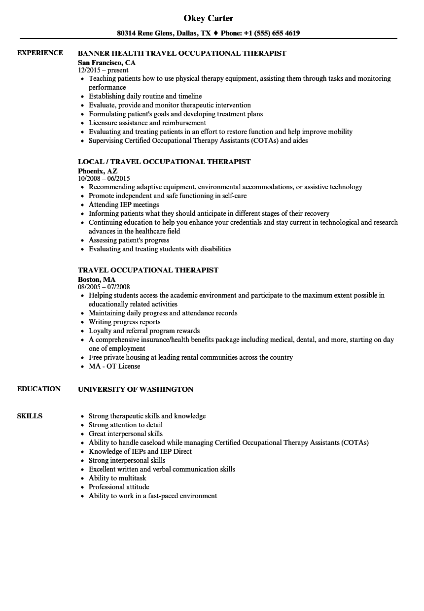 occupational therapy job application example