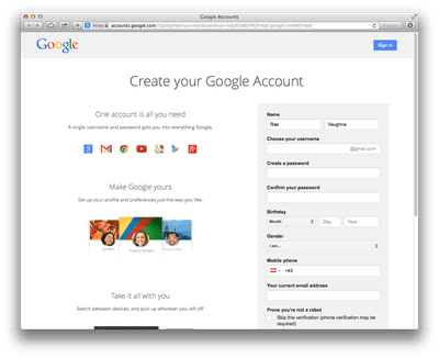 create new gmail account application