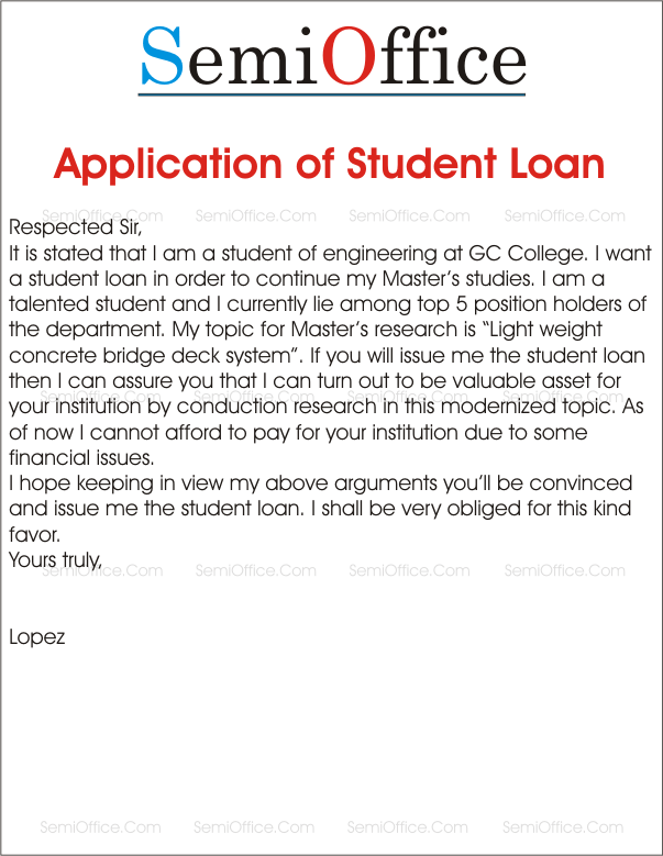 loan application letter to bank