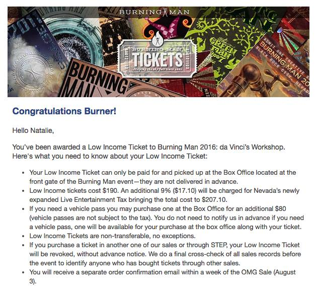 burning man low income ticket application