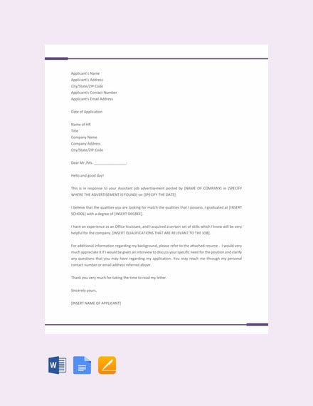 application letter for office assistant position