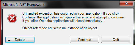 microsoft net framework unhandled exception has occurred in your application