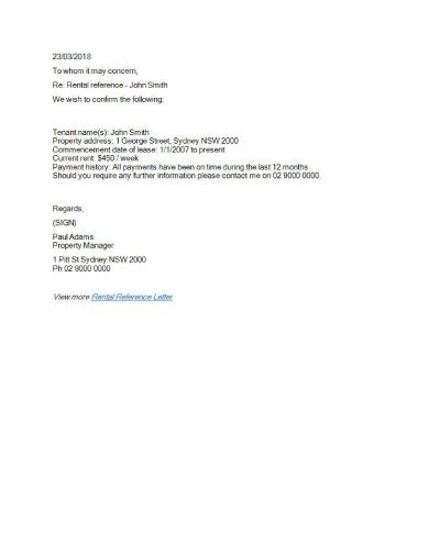 reference letter for rental application