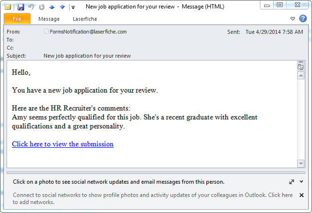 example of sending email for job application