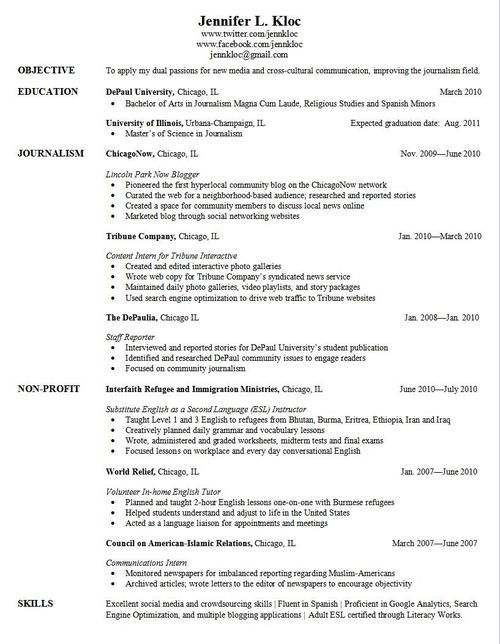 writing a resume for university application