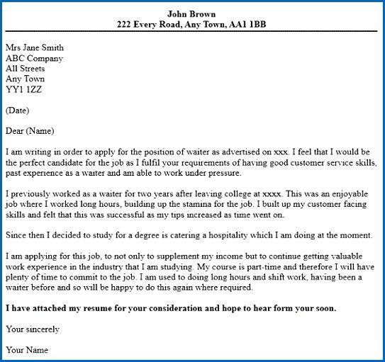 sample cover letter for hotel job application