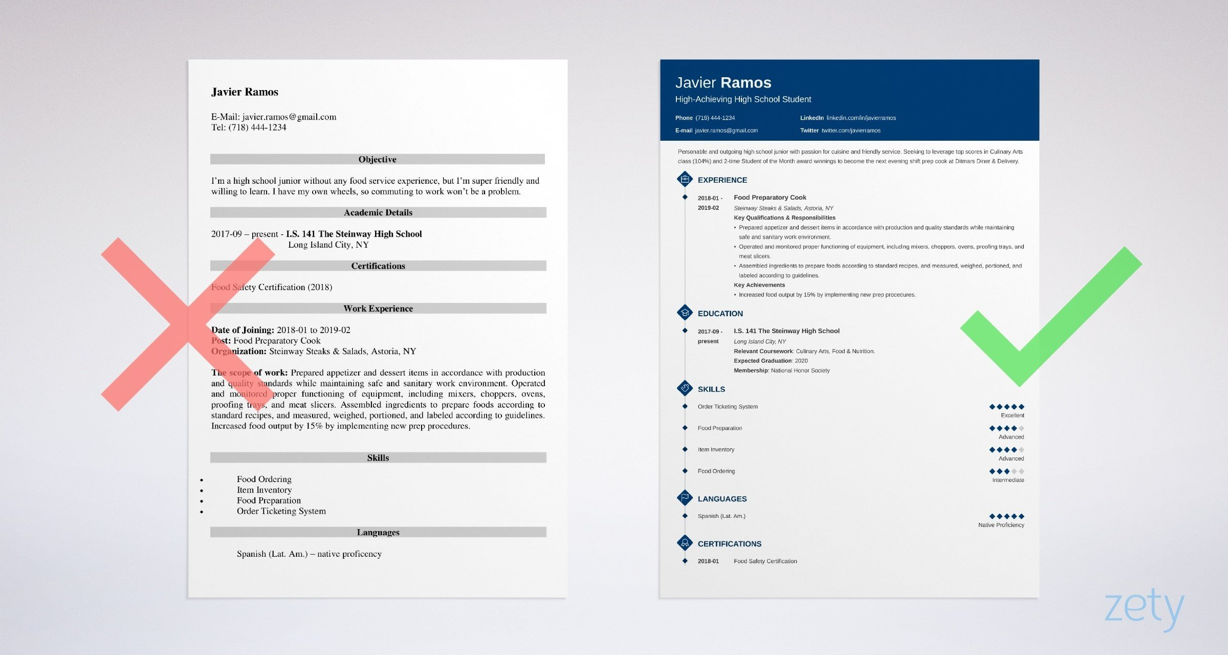 sample high school student resume for college application