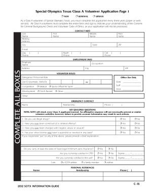 special olympics volunteer application form