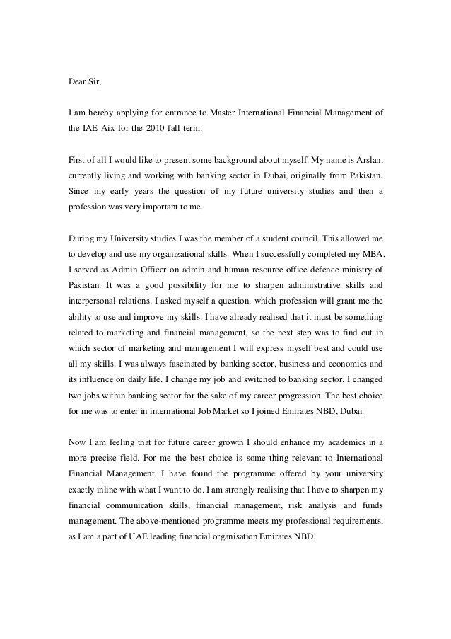 motivation letter for master application