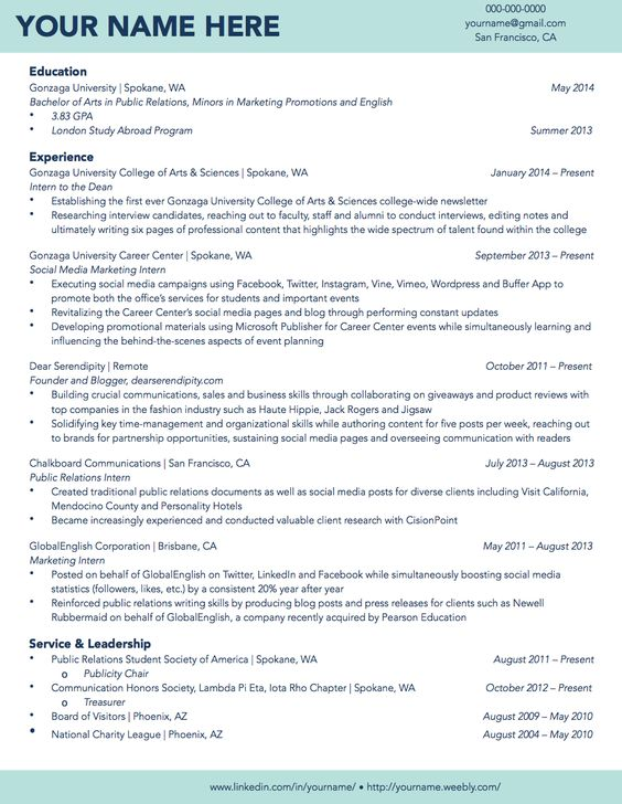 cv template for university application