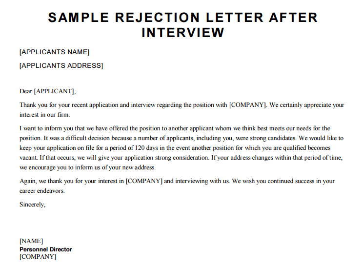 job application rejection letter after interview