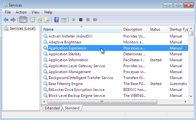 application experience service entered the stopped state