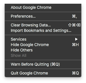 create application shortcut chrome missing