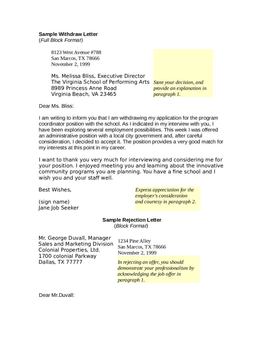 sample letter to withdraw application