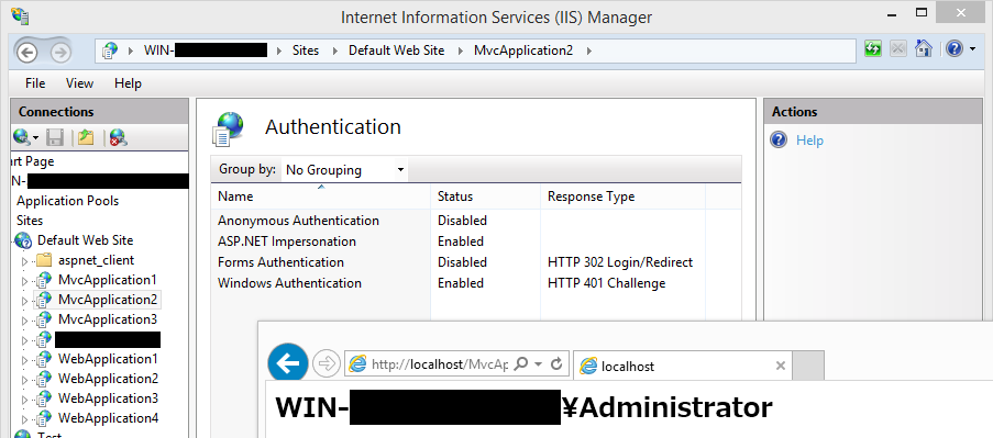 iis application pool identity windows authentication