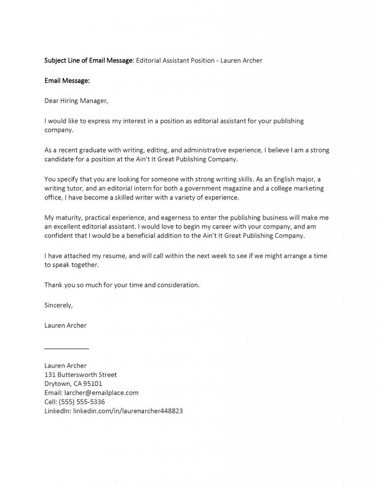 sample job application email cover letter attached