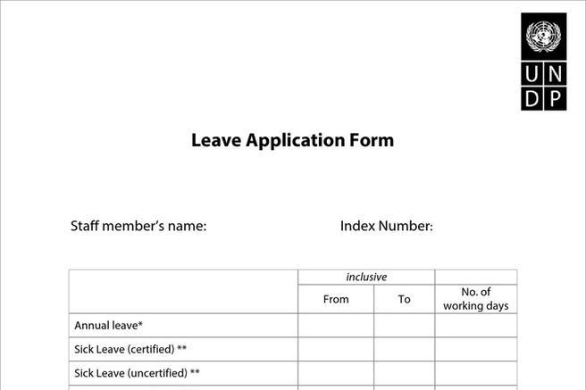 free leave application form template