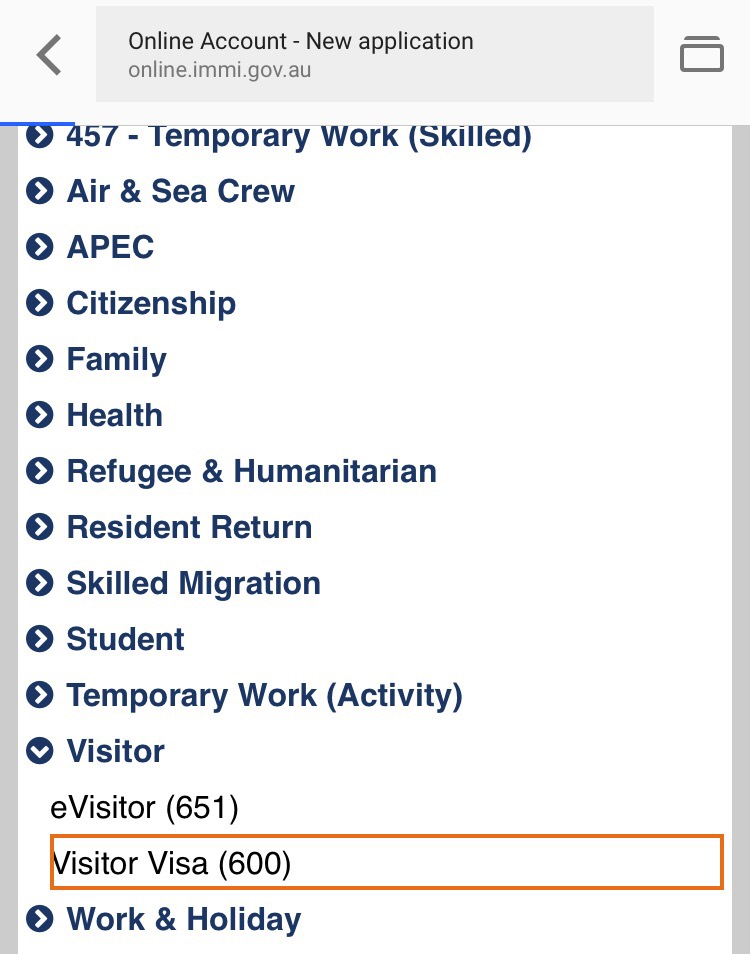 australia visitor visa 600 application form