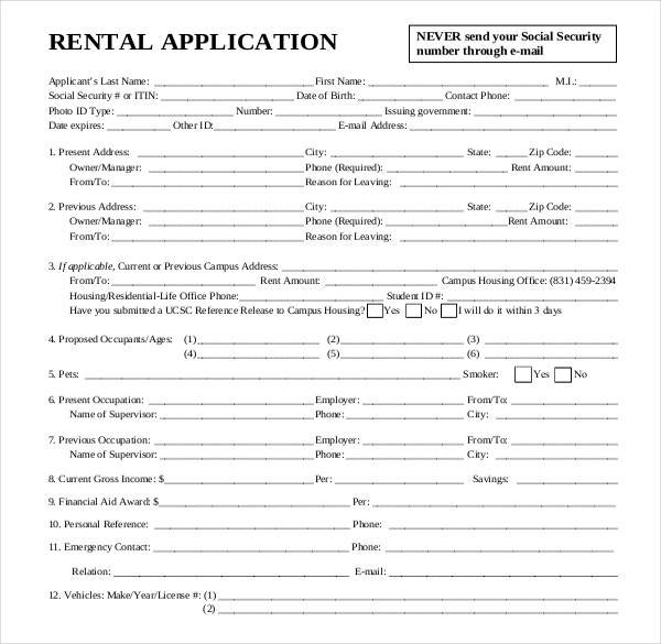 free rental credit application form template