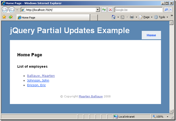 single page application jquery example