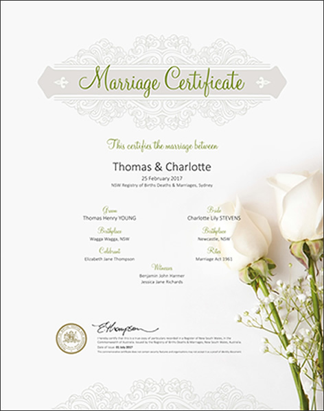 application for marriage certificate nsw australia