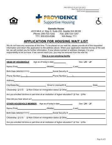 housing waiting list application form