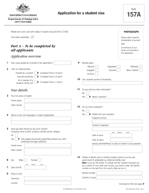 australian student visa application form 157a