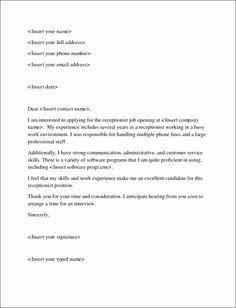 sample application letter for receptionist