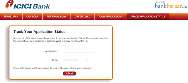 icici bank home loan application status