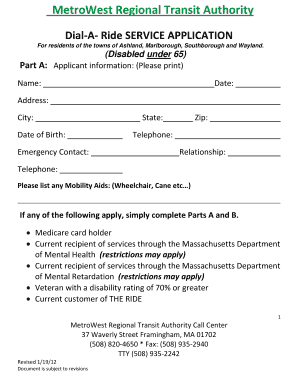 dial a ride application form