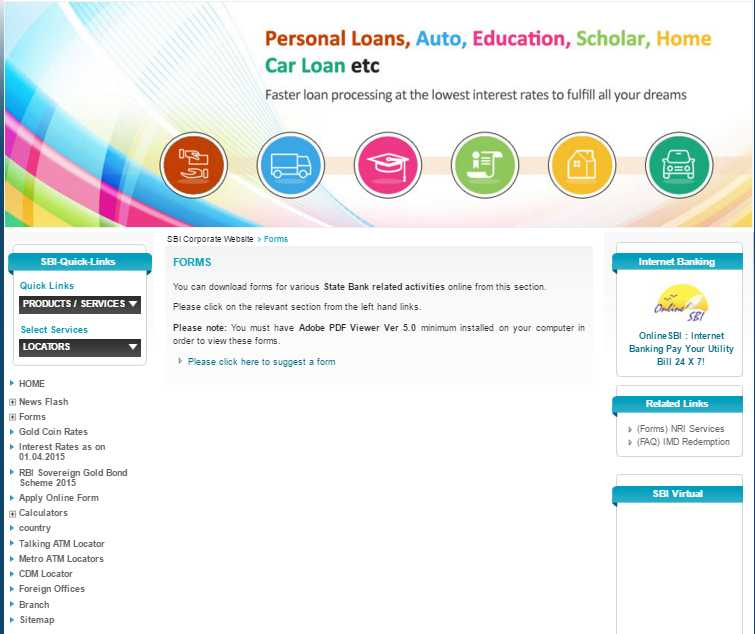 sbi net banking application form pdf