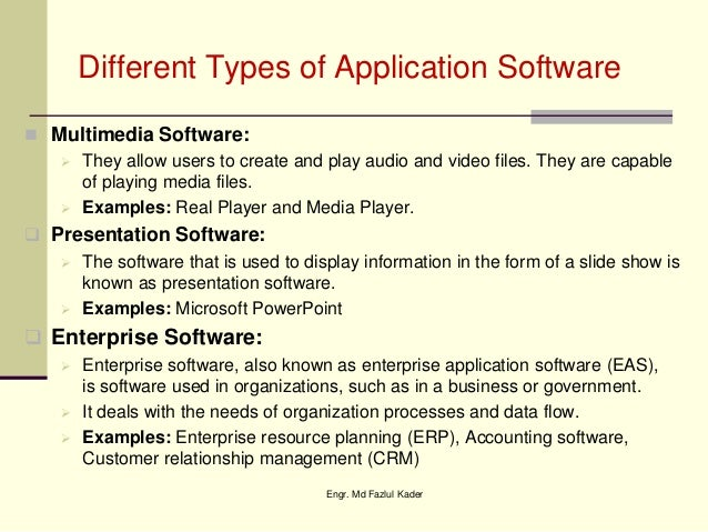 examples of software and application