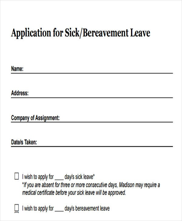 sick leave application to manager