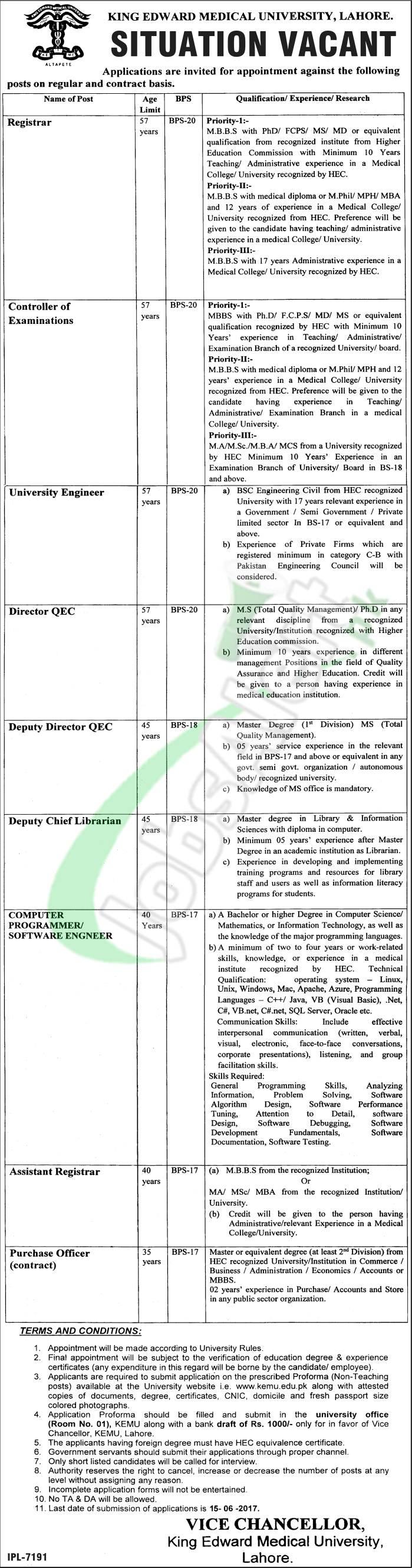 www kemu edu pk application form 2017