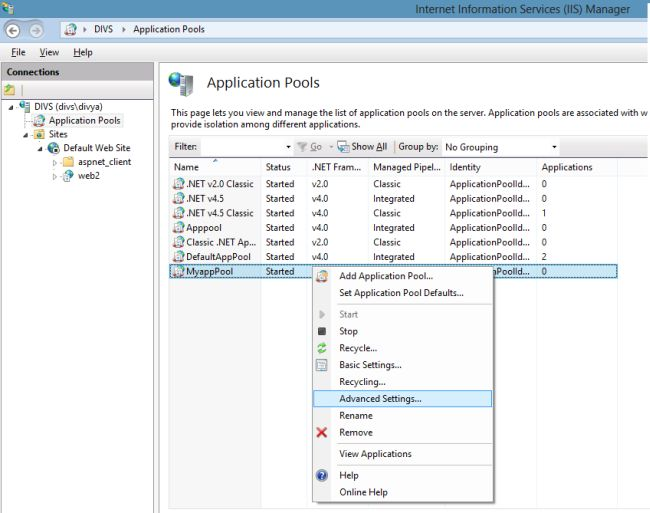 how to create application pool in iis
