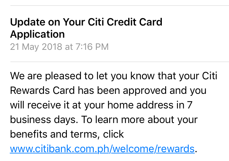 citibank credit card application reference number