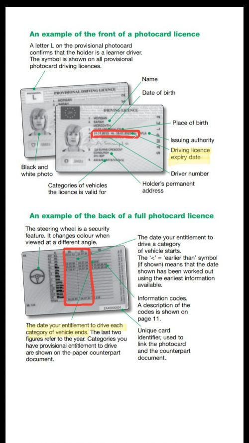 application for a driving licence d1